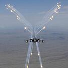 Ein AV-8B Harrier feuert Flares während eines Trainingsfluges ab. von StocktrekImages