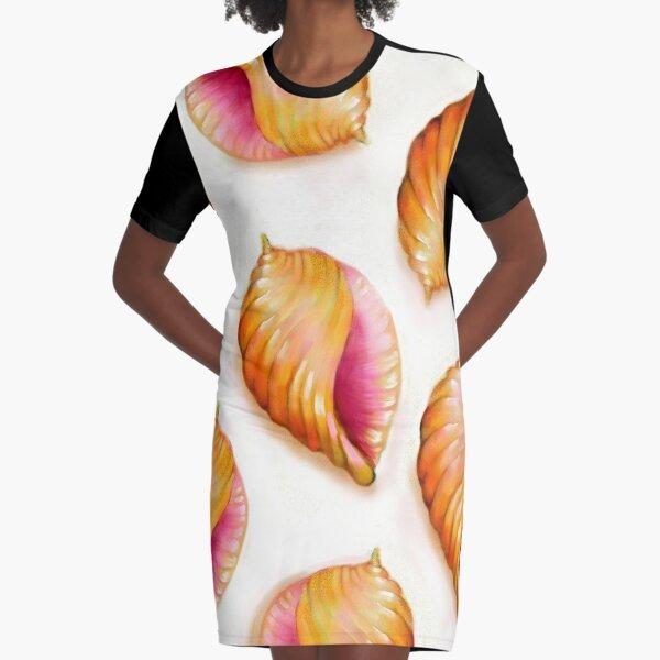 Bright Pink Seashell Pattern Graphic T-Shirt Dress