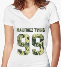 Martinez Twins - Camo Women's Fitted V-Neck T-Shirt
