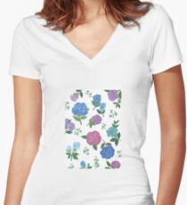Blue and purple roses floral pattern Women's Fitted V-Neck T-Shirt