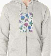Blue and purple roses floral pattern Zipped Hoodie