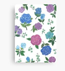 Blue and purple roses floral pattern Canvas Print