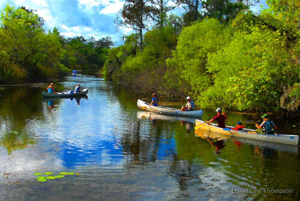"""""""Canoeing Friends"""" by David Lee Thompson"""