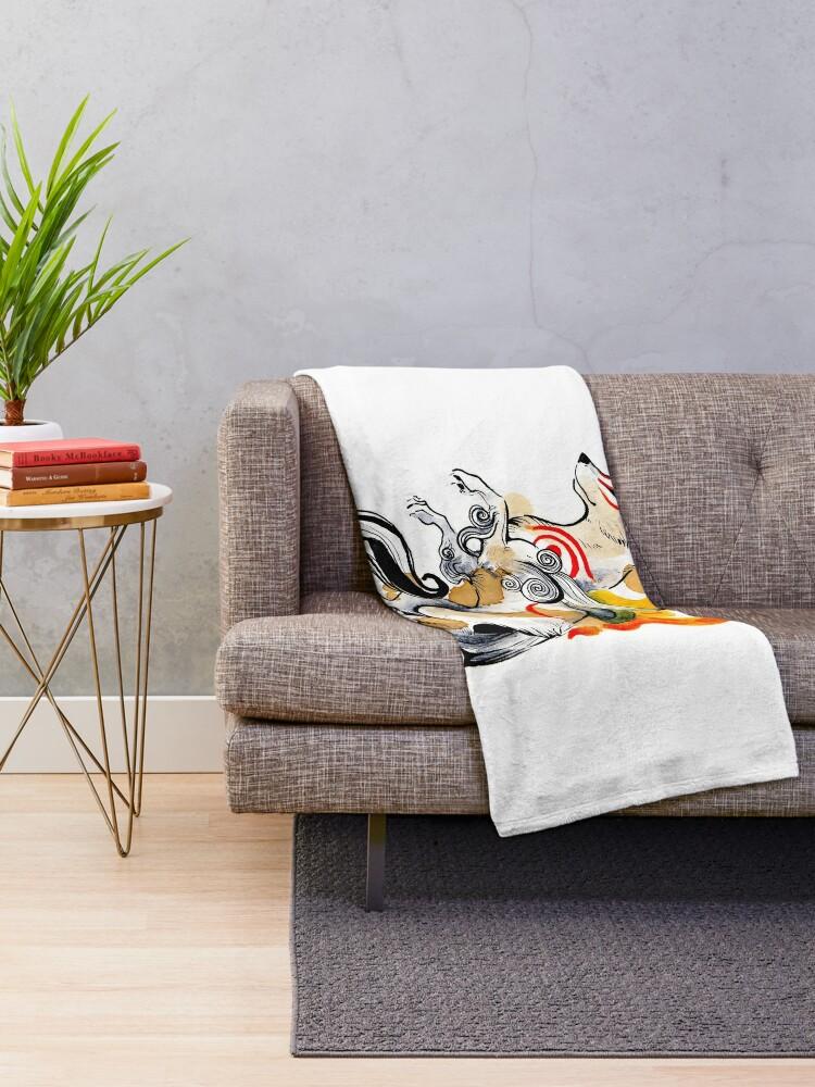 Alternate view of Okami Amaterasu Throw Blanket