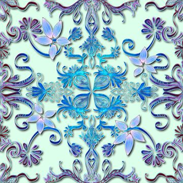 Blue and Purple Floral Pattern by pennywm782