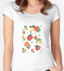 Red, yellow, and orange roses floral pattern Women's Fitted Scoop T-Shirt