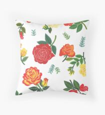 Red, yellow, and orange roses floral pattern Throw Pillow