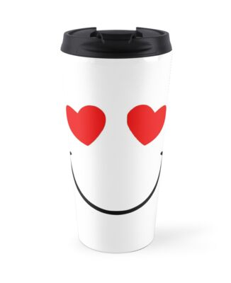 Red Heart Eyes Emoji Travel Mug By Annaleeblysse Redbubble