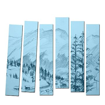 Snowy Village Pines Mountain Sketch Pencil Drawing by lycorisium