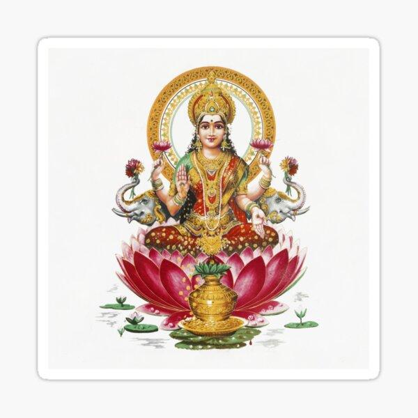 Lakshmi - Diosa Hindú de la Riqueza, la Fortuna, la Salud y la Prosperidad Pegatina