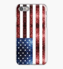 USA flag red blue sparkles glitters iPhone Case/Skin