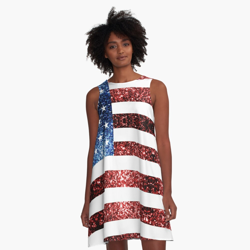 USA flag red blue sparkles glitters A-Line Dress Front