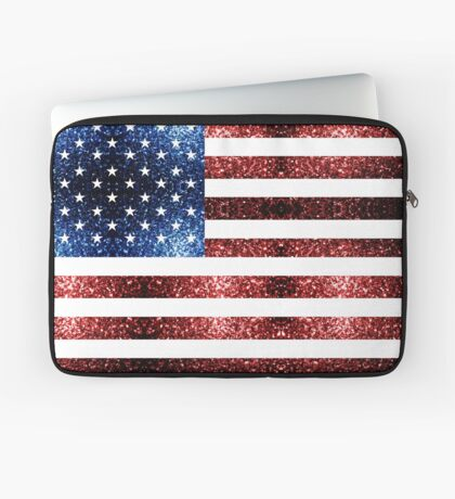 USA flag red blue sparkles glitters Laptop Sleeve