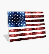 USA flag red blue sparkles glitters Laptop Skin