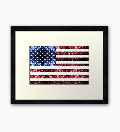 USA flag red blue sparkles glitters Framed Print