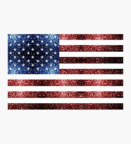 USA flag red blue sparkles glitters Photographic Print