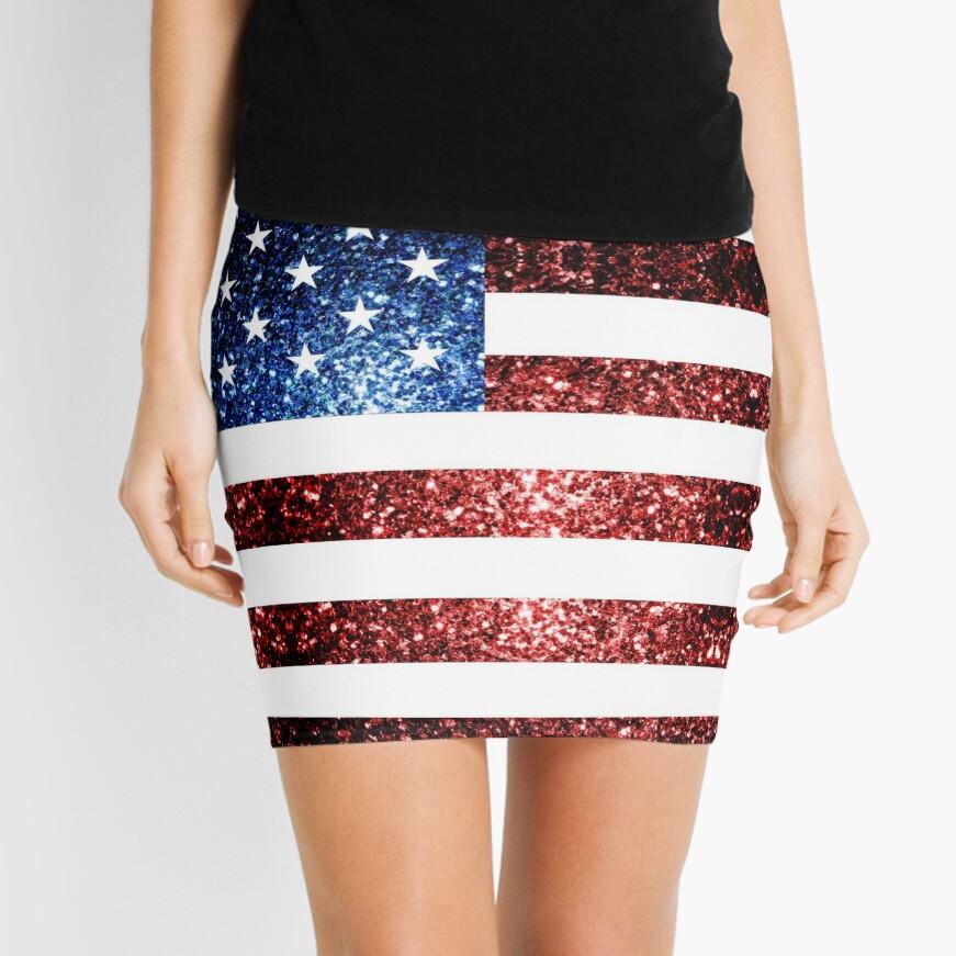 USA flag red blue faux sparkles glitters Mini Skirt