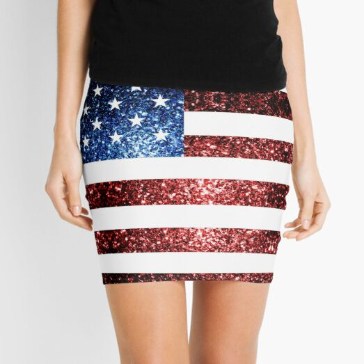 USA flag red blue sparkles glitters Mini Skirt