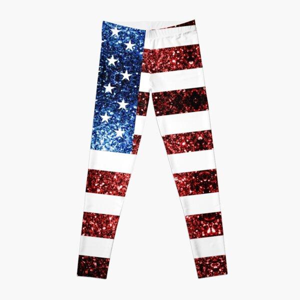 USA flag red blue faux sparkles glitters Leggings