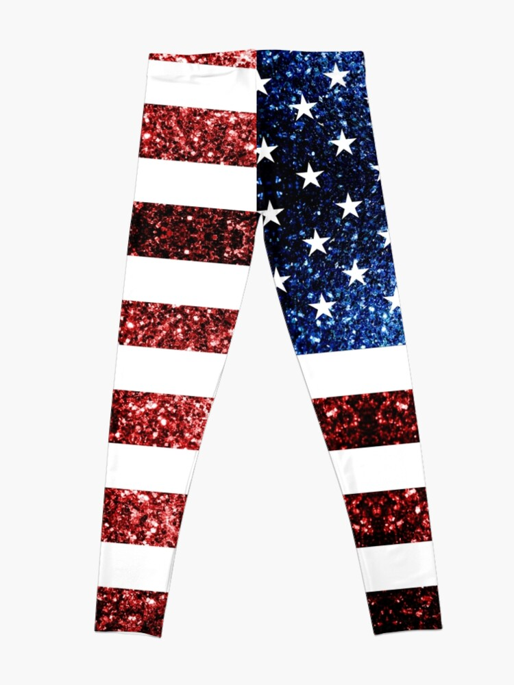 Alternate view of USA flag red blue sparkles glitters Leggings