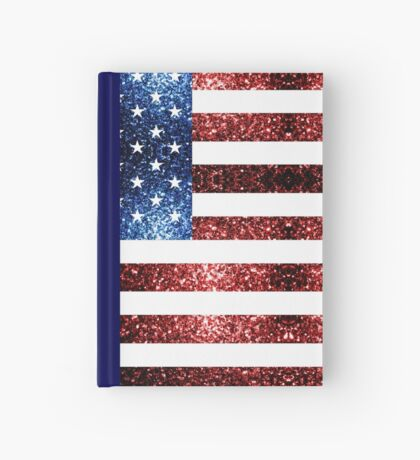 USA flag red blue sparkles glitters Hardcover Journal