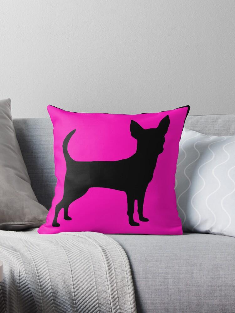 Neon pink black chihuahua silhouette by artisticattitud