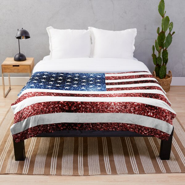 USA flag red blue sparkles glitters Throw Blanket
