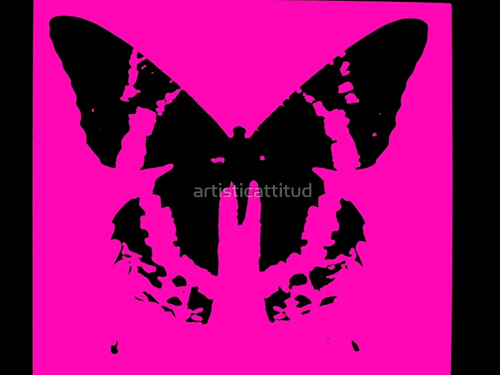 Neon pink black butterfly design by artisticattitud