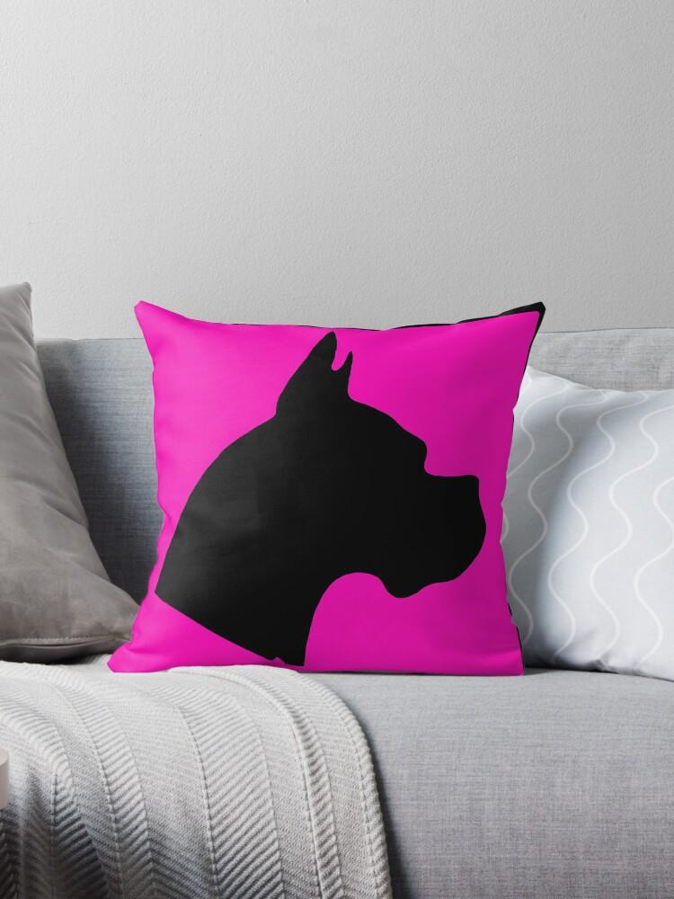 Pink black boxer dog silhouette by artisticattitud
