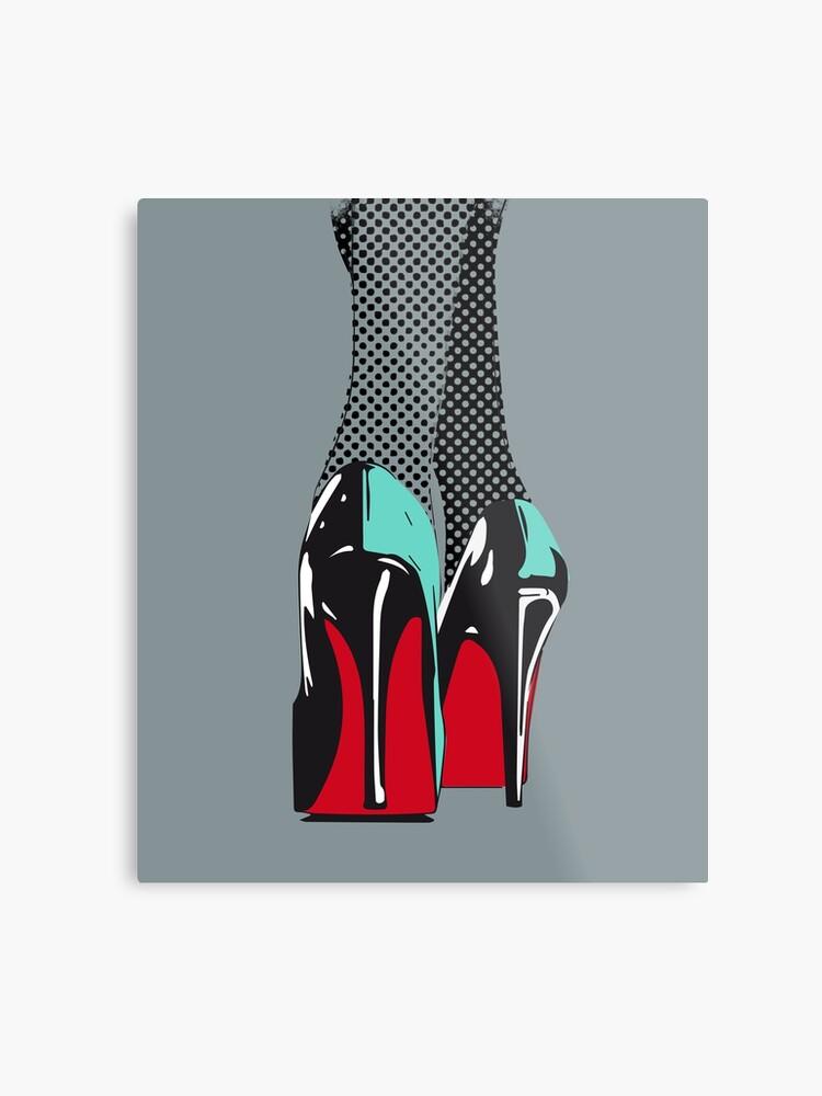 info pour 38a2d 89330 haut talons femme peinture rétro vente de bande dessinée lichtenstein en  cuir verni chaussures sexy semelle rouge   Impression métallique