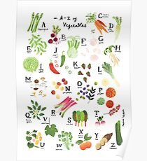 Vegetable Alphabet Illustration Poster