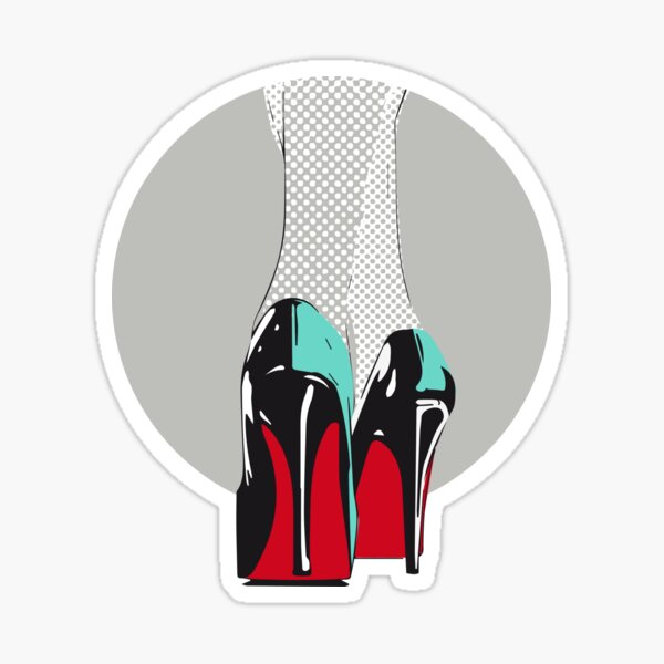 high heels woman sexy shoes heel retro comic lichtenstein lacquer gloss leather red sole Sticker