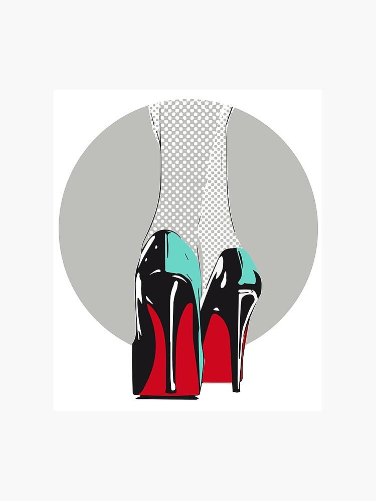 SohleFotodruck High Frau Glanz Comic Heels Rote Sexy Schuhe Absatz Retro Leder Lichtenstein Lack 0Okw8nP