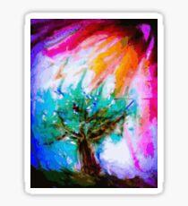 Lone tree on moors in acrylics Sticker
