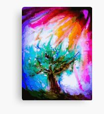 Lone tree on moors in acrylics Canvas Print