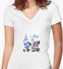 Delicate blue and purple flowers Women's Fitted V-Neck T-Shirt