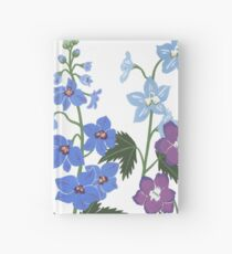 Delicate blue and purple flowers Hardcover Journal
