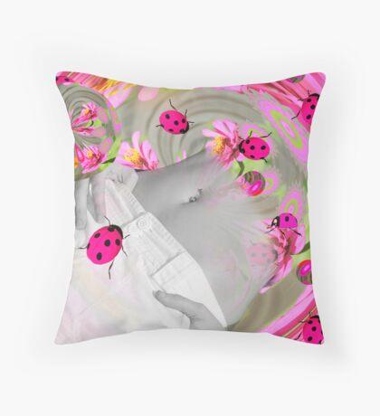 Ladybug Summer Throw Pillow
