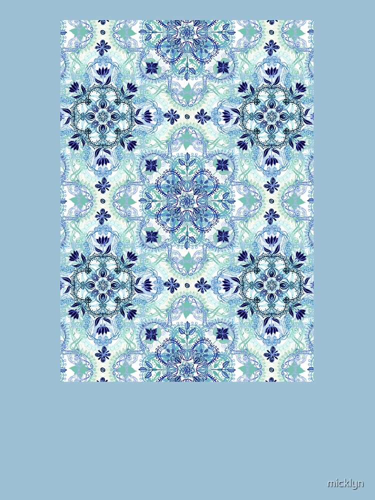 Navy Blue, Green & Cream Detailed Lace Doodle Pattern by micklyn