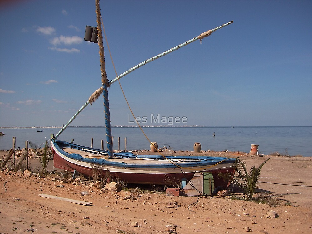 ship on shore by Les Magee
