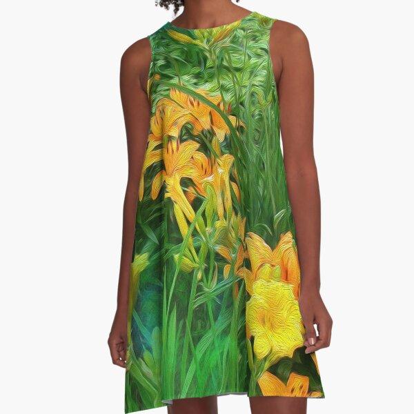 Day-glo Lilies A-Line Dress