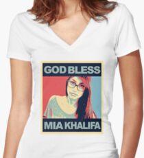 God Bless Mia Khalifa Women's Fitted V-Neck T-Shirt