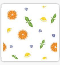 Hand drawn fruits print on a white background. Sticker