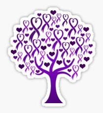 Raising Support & Awareness - Charity Ribbon Tree (Purple) Sticker