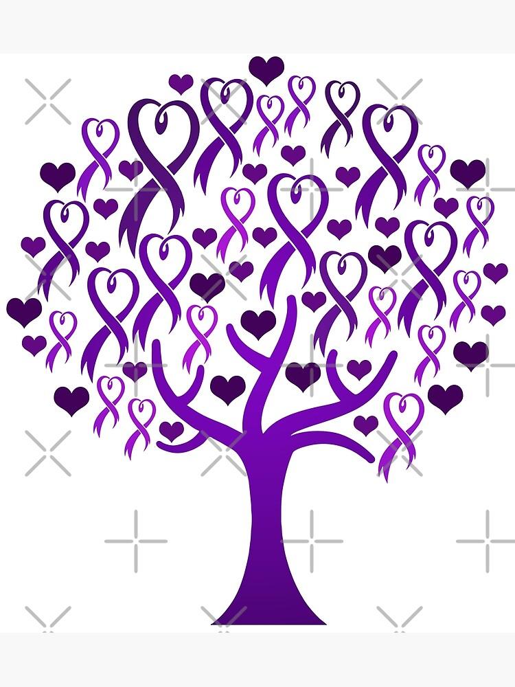Raising Support & Awareness - Charity Ribbon Tree (Purple) by ThisOnAShirt