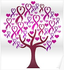 Raising Support & Awareness - Charity Ribbon Tree (Pink) Poster