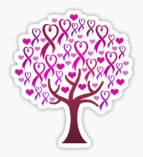 Raising Support & Awareness - Charity Ribbon Tree (Pink) Sticker