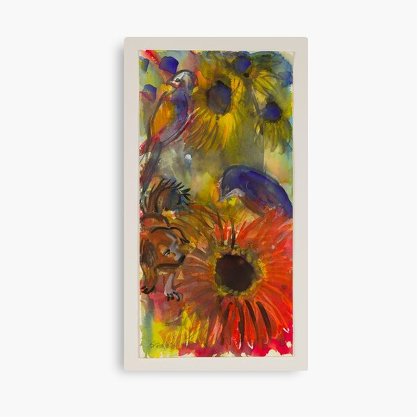 Dog and Red Flower Canvas Print