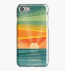 Sunset on beach / green field. Geometric abstract iPhone Case/Skin
