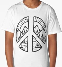 Peace Sign and Mountain Design Long T-Shirt